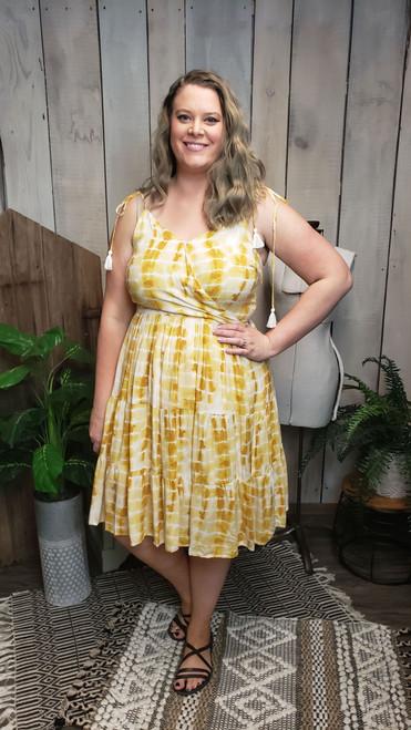 Mustard Tie Dye Tie Strap Dress
