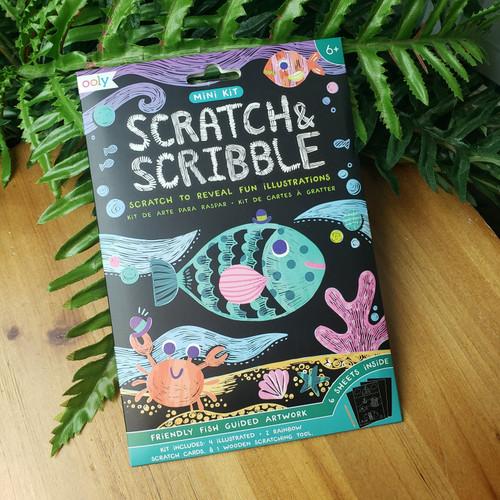Mini Scratch & Scribble Art Kit-Friendly Fish