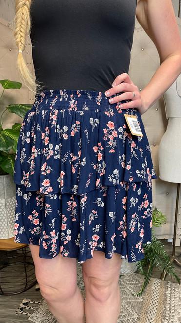 Tiered Smocked Skirt-Navy