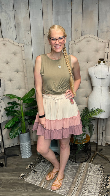 Blushing Flutter Skirt-RoseWood