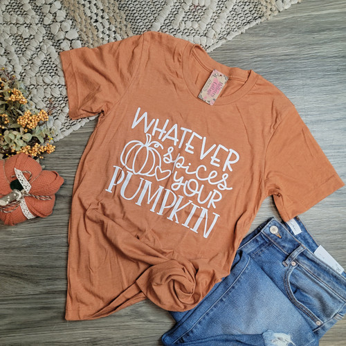 Whatever Spices Your Pumpkin Tee-Heather Autumn