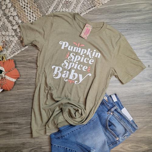 Pumpkin Spice Spice Baby Tee- Heather Olive