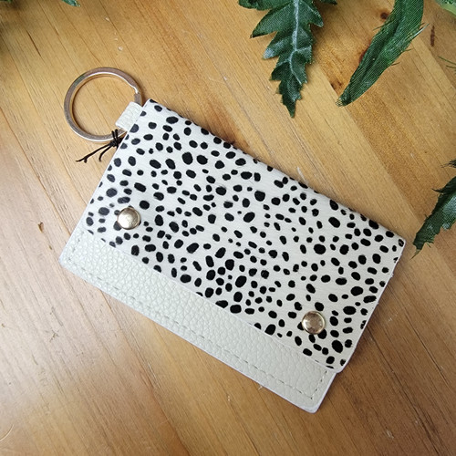 Leather Snap Card Holder KeyRing-White Dots