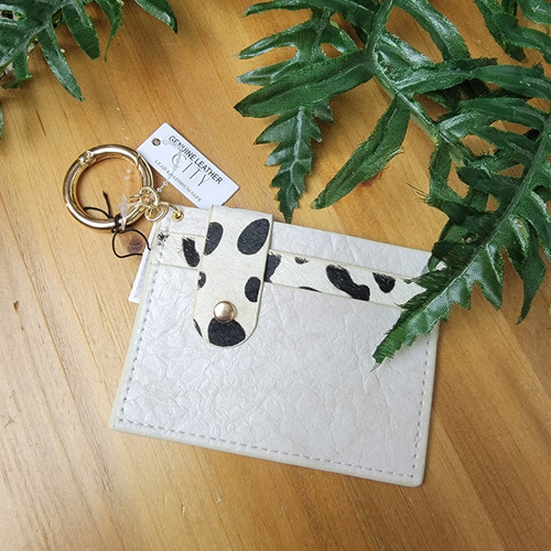 Leather Card Holder-White Spots