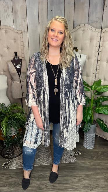 Romantic Lace Jacket - Black Print