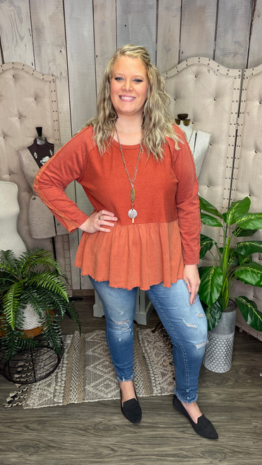Curvy Mineral Washed Long Sleeve Babydoll Top- Rus