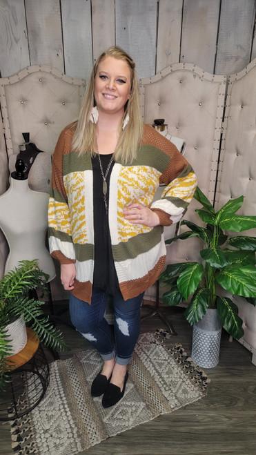 Curvy Bonfire Sweater-Olive