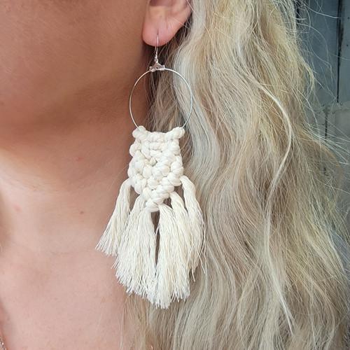 Handmade Macrame Earrings-Circle/Cream