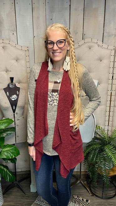 Glenda Sweater Waterfall Vest-Wine