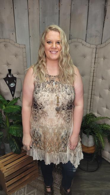 Curvy Tallia Lace Overlay Dress-Taupe