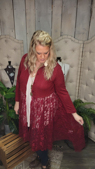 Curvy Sweater and Lace Jacket-Wine