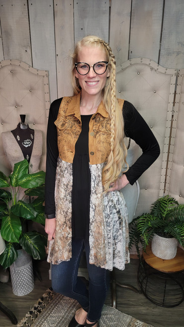 Suede and Lace Vest-Camel Nature