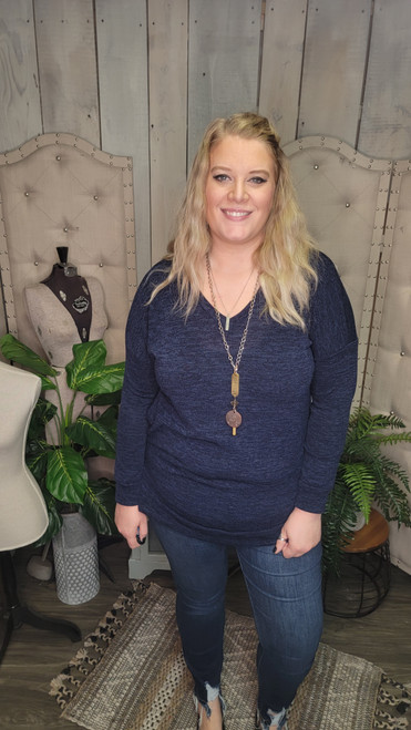 Curvy Banded Sweater-Navy