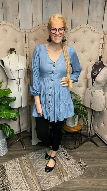 Chambray Tiered Long Sleeve Dress