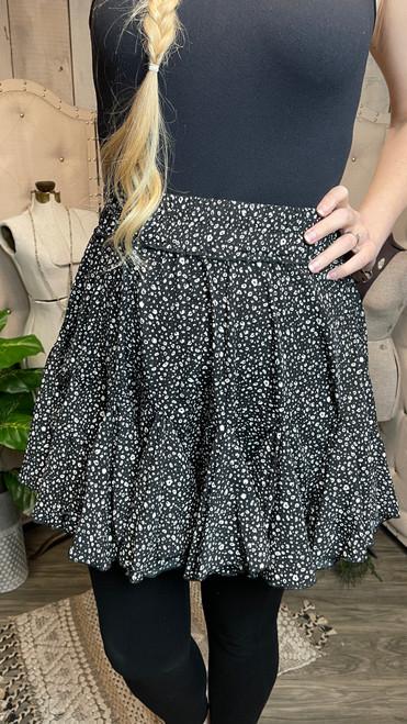 Flippy Leopard Skirt-Black