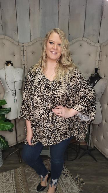 Curvy Leopard Print Poncho Top