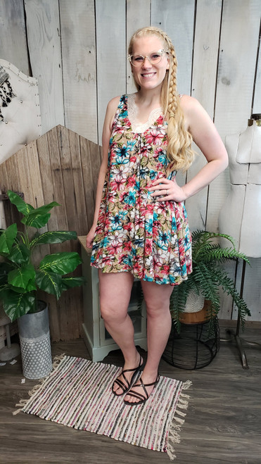 Whimsical Floral Dress w/Lace