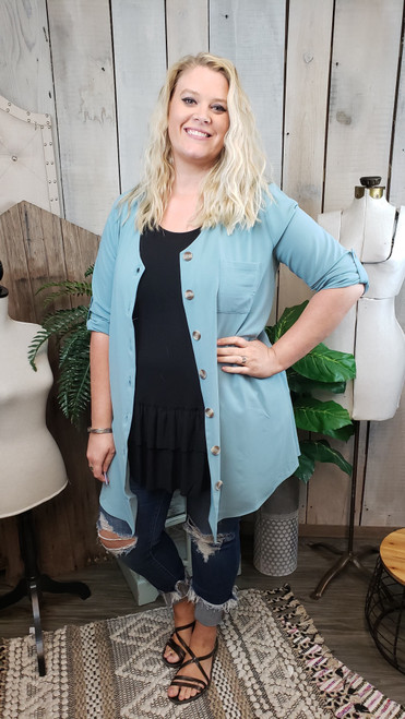 Curvy Button Down Jacket 3/4 Sleeve- Blue Grey