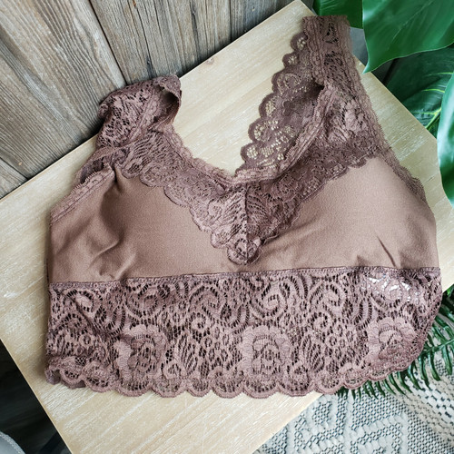 Curvy Wide Strap Bralette-Lt. Brown