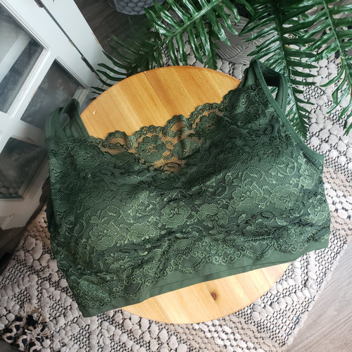 Curvy Seamless Bra Top w/Lace - Army Green