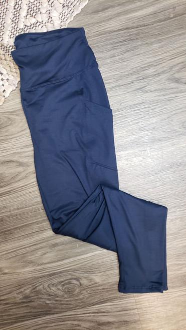 Curvy Buttery Soft Yoga Pocket Legging-Navy