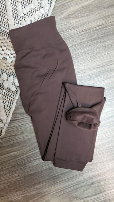 Curvy Fleece Lined Leggings-Brown