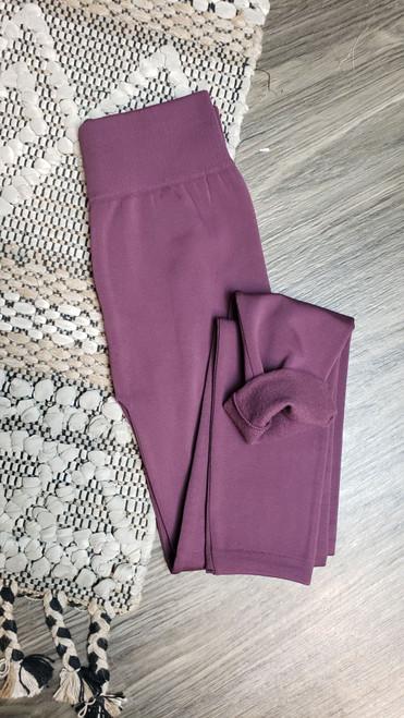 Curvy Fleece Lined Leggings-Eggplant