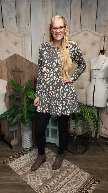 Slate Animal French Terry Dress