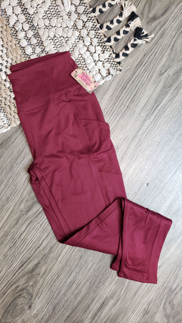Buttery Soft Yoga Pocket Legging - DK Burgundy