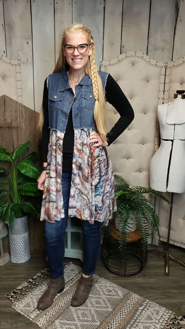 Denim and Lace Vest - Wave