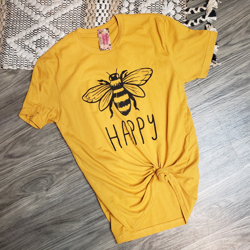 Bee Happy Tee-H. Mustard