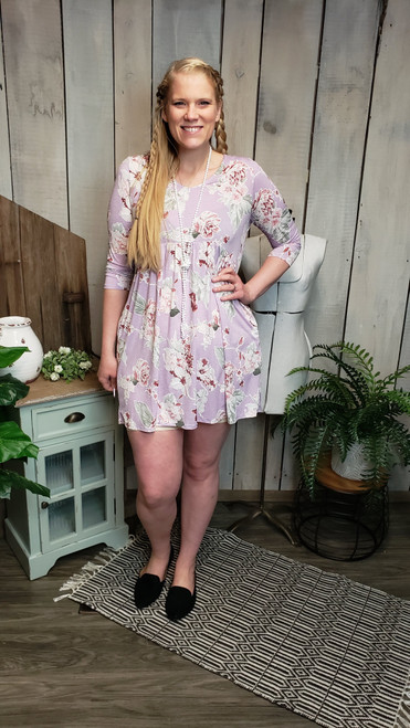 Lilac Floral Baby Doll Dress