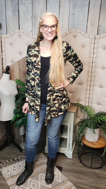 Draped Pocket Cardigan-Camo