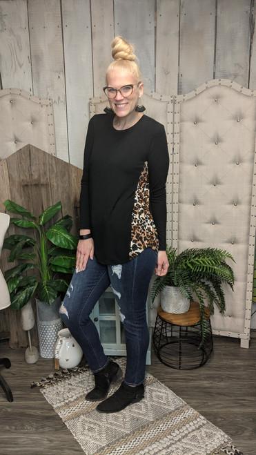 Cheetah Side Long Sleeve-Black