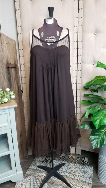 Curvy Dotted Lace Layering Dress - Chocolate