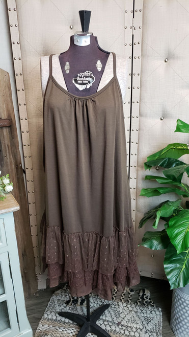 Curvy Traditional Layering Dress - Chocolate