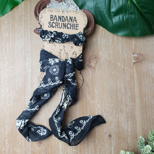 Bandana Scrunchie Set-Black/Cream