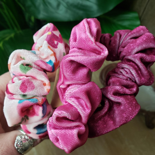 Velvet Scrunchie Set-Berry