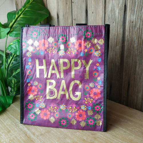 Medium Reusable Gift Bag-Purple Happy Bag