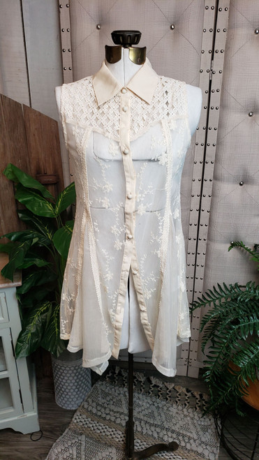 Madelyn Lace Button Up