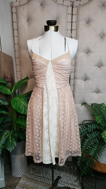 Charlie Dotted Lace Dress - Taupe