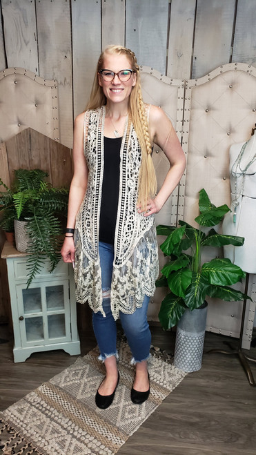 Crochet Vest With Lace Trims-Taupe Print