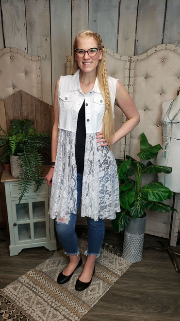 White Denim and Lace Vest - White