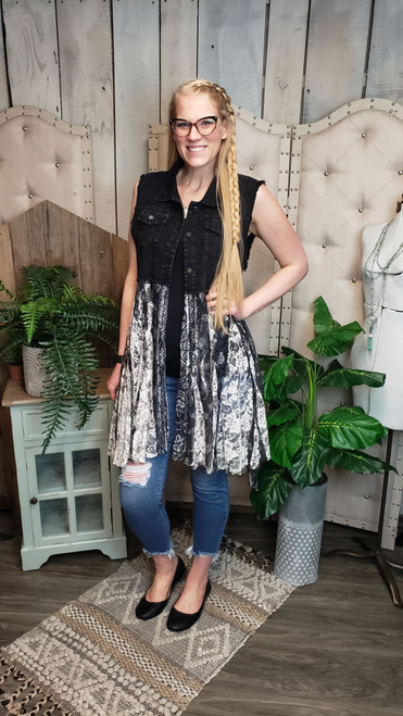 Black Denim and Lace Vest-Black Print