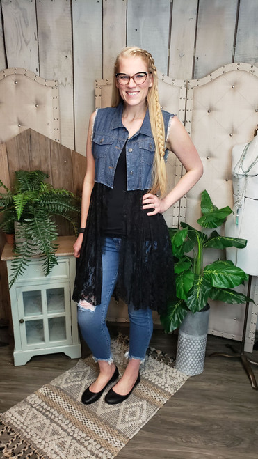 Denim and Lace Vest - Black