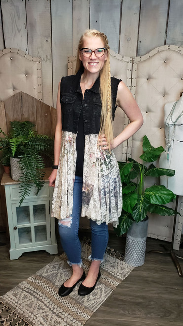 Black Denim and Lace Vest-Italy Print