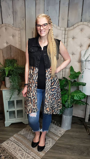 Black Denim and Leopard Lace Vest