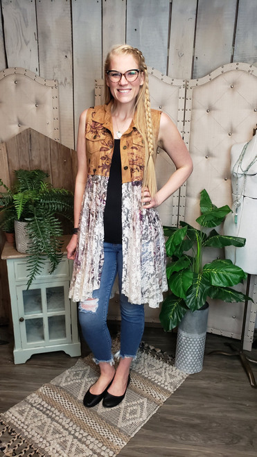 Suede and Lace Vest - Rose