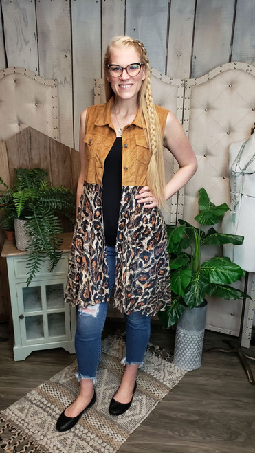 Suede and Lace Vest-Leopard