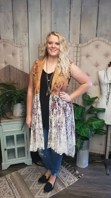 Curvy Suede and Lace Vest - Rose